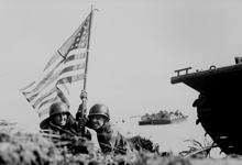 Soldiers Carrying US Flag (Guam beach)