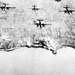 Pre-invasion bombing by A-20 bombers of Pointe du Hoc at Omaha Beach